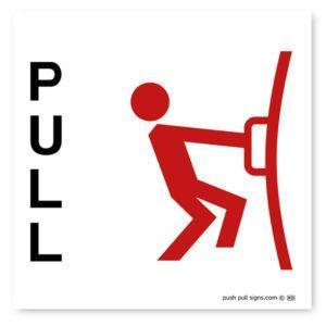 Stick Man Pull Sign Red
