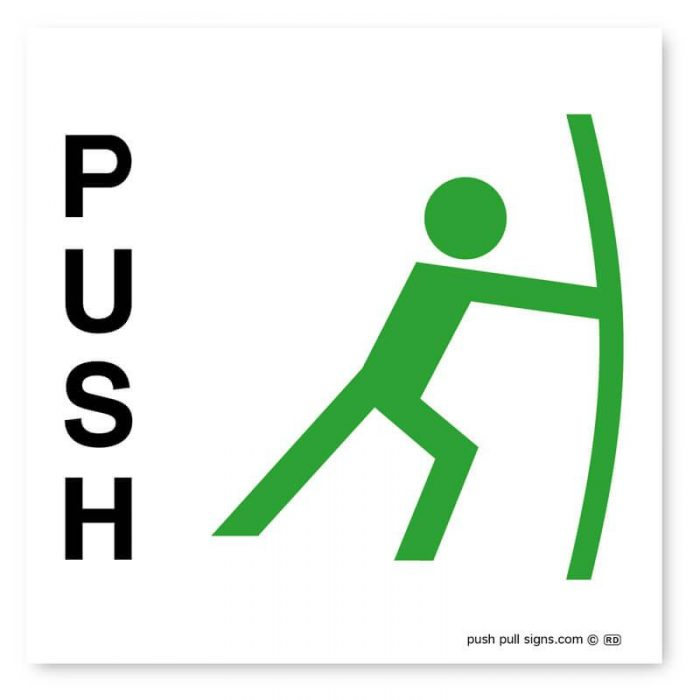 Stick Man Push and Pull Signs (Green and Red)