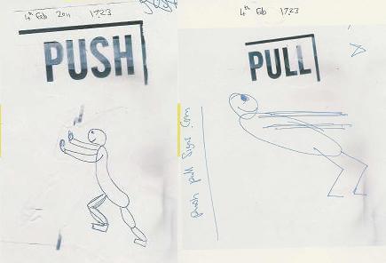 push pull hand drawn